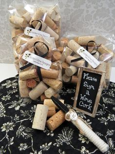 Offered are 3 components to make your own Alternative Guest Book. The kit includes  ~ 1 embellished Sharpie marker  ~ 100 all-natural, used wine corks, red wine stains included. The corks are hand sorted to be either blank or with very limited graphics to leave lots of room for your guests to write their name and message. ~ 1 miniature chalkboard sign with instructions for your guests The last photo demonstrates one option of how these could be used at your next event. Just add a pretty…
