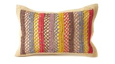 Fair Trade Multicolor Rafia Pillow by Mar Y Sol >> Beautiful! Crochet Cushions, Crochet Pillow, Pin Cushions, Sustainable Gifts, Sustainable Products, Crochet Home, Fair Trade, Crochet Projects, Knitted Hats