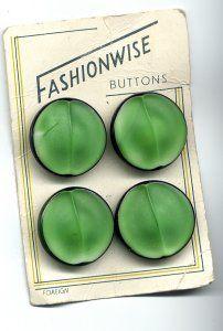 GREEN PEARLISED BUTTONS WITH BLACK EDGES