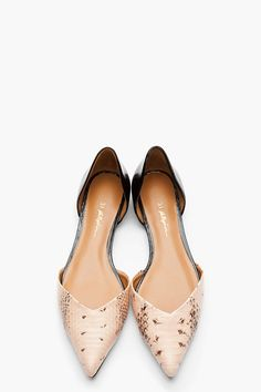 3.1 PHILLIP LIM // blush pink snakeskin D'orsay Flats // flats // nude // tan // summer style