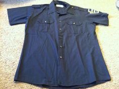Nice men's size L Large Five Star navy blue uniform Chester Police shirt top #FiveStar #shirt