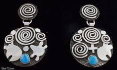 Sterling Silver Rock Art Earrings Each Set With A Sleeping Beauty Turquoise Stone. Masterfully Handmade And Designed By Navajo Artist ALEX SANCHEZ. Native American Artists, Native American Indians, Turquoise Stone, Turquoise Jewelry, American Indian Jewelry, Sleeping Beauty Turquoise, Rock Art, Navajo, Handmade Jewelry