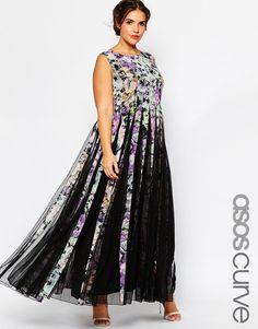 Изображение 1 из Расклешенное платье с цветочным принтом ASOS CURVE