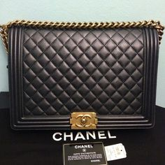 34b3f34460e Chanel Boy Large Le with Gold Hardware Pearlized Black Leather Shoulder Bag  15% off retail
