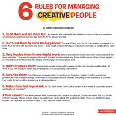 6 Rules for Managing #CREATIVE People via Harvard Business Review
