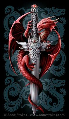 """""""The Dragon and the Sword"""" Artwork by Anne Stokes Chinese Tattoo Designs, Dragon Tattoo Designs, Dragon Tattoos, Viking Dragon Tattoo, Dragon Head Tattoo, Celtic Dragon, Anne Stokes, Baby Dragon, Red Dragon"""