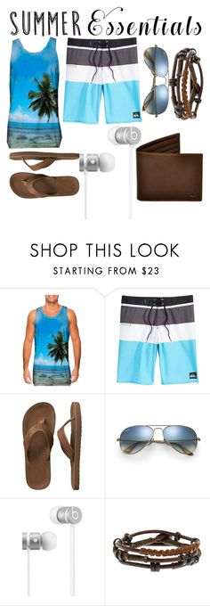 """beach day"" by taylorchontos ❤ liked on Polyvore featuring Quiksilver, Gap, Ray-Ban, Beats by Dr. Dre, men's fashion, menswear and summermenswearessentials"