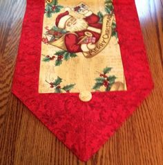 SALE Table runner for Christmas, sz M, Red swirl pattern and Santa and Holly, coffee table scarf, dresser scarf, home decor, decoration