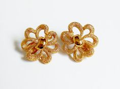 Gold Clip On Earrings Vintage Signed MONET by PrettyShinyThings4U