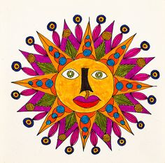 'Untitled by Mario De Biasi from the ''Suns'' Series 20th Century drawing Private collection Whole artwork view A big sun with an orange face...
