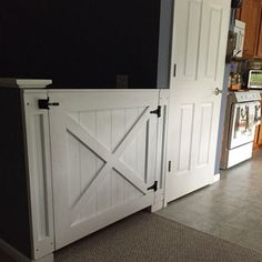 Rustic Dog/ Baby Gate Barn Door Style w/ side panels Baby Gates, Dog Gates, Pet Gate, Barn Door Baby Gate, Barn Doors, Fenced In Yard, Stain Colors, Baby Dogs, Doge
