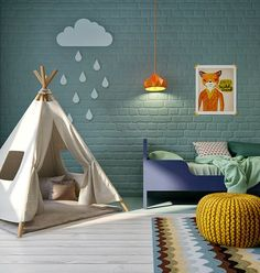 vintage inspired kids playroom with bright colored brick walls, fun lighting, and bold printd