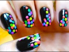 Spotted Black Colorful Nails - Nail art 2013 Trends by LeilaRamosNails - You Tube