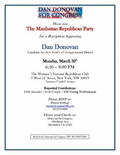 Reception for Congressional Candidate Dan Donovan   NYGOP