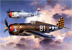 "Republic P-47D 10-RE Thunderbolt ""Dallas Blonde"", USA, y Republic P-47D 30-RE Thunderbolt ""Look-No Hands"", USA, en 1945"