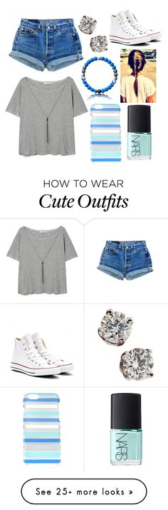 """""""Casual Hot Summer Day Outfit"""" by caroflagrl on Polyvore featuring MANGO, Kate Spade, Levi's, Converse, Tiffany & Co. and NARS Cosmetics"""