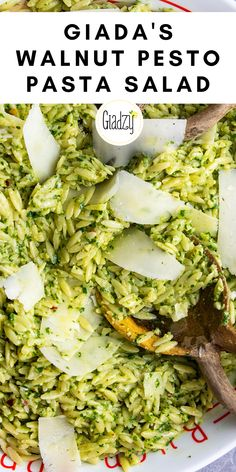 Pesto is always a winner, and what I love is how versatile it can be. If I don't have enough basil, I'll use other herbs – like in this recipe, I supplement with parsley. Giada Recipes, Vegetarian Recipes, Cooking Recipes, Pesto Pasta Salad, Pasta Salad Recipes, Side Dish Recipes, Dinner Recipes, Walnut Pesto, Italian Recipes