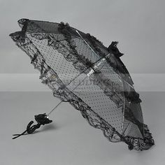 Black Dotted Lace Wedding Umbrella