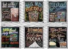 andrea casey chalk signs murals lettering Starbucks Funny, Starbucks Crafts, Starbucks Art, Working At Starbucks, Starbucks Store, Arc Notebook, Chalk Lettering, Font Art, Art Folder
