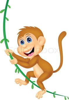 Stock vector of 'Vector illustration of Cute monkey cartoon swinging'