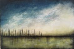 """Sweeping Skies"" 20""x30"" Encaustic artwork"