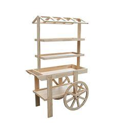 "FixtureDisplays 42.0"" x 67.5"" x 27.0"" Wooden Vendor Cart w/ 3 Shelves - Oak 19402 19402 FixtureDisplays"