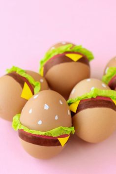 DIY Burgers - 21 Easter Egg DIY Ideas That Are Oh-So-Cute and Easy - Southernliving. These burgers come together in less time than it takes to start the grill. Grab some paint pens, yellow paper, and green tissue paper and your burger is well-done.  Get the full tutorial here.