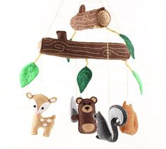 This listing is for patterns and instructions to create a sweet woodland forest nursery mobile featuring an owl, fox, deer, squirrel and bear, all hanging from two whimsical logs with a smattering of cheery leaves. ~~~o~~~o~~~o~~~o~~~o~~~o~~~o~~~ • This is a DIGITAL DOWNLOAD, not