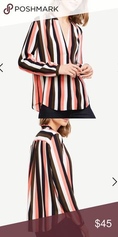 "ANN TAYLOR blouse Stripped pleated collar blouse in Riley pink- v neck with knife pleat beneath- ruffle stand collar - long sleeves with button closure- shirttail hem 27 1/4"" long Ann Taylor Tops Blouses"