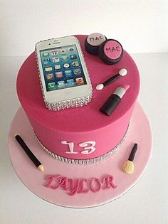Smart Phone Birthday Name Cake - eNameWishes 13 Birthday Cake, Birthday Cakes For Teens, 13th Birthday Parties, Birthday Name, 14th Birthday, Teenage Girl Birthday, Birthday Makeup, Birthday Ideas, Cake Images
