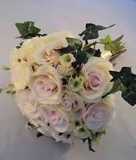 Vintage Look Wedding Bouquet of Silk Pink and Ivory Roses Shabby Chic