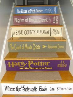 Custom Book Title Decals for stairs * the price is for EACH step riser. ANY title! Just send your book list & measurements to get started! - Custom Book Title Decals for stairs the price is for EACH Stair Risers, Stair Steps, Diy Stair, Book Staircase, Staircase Decals, Ibiza, Basement Movie Room, House At Pooh Corner, Where The Sidewalk Ends