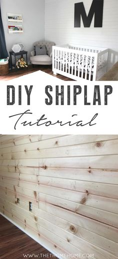 "The easiest DIY Shiplap Tutorial! Plank wall painted with @ChalkWorthy 's ""White Linen"". The crisp contrast of the shiplap lines balance & compliment the soft textures in this modern neutral nursery pefectly!"