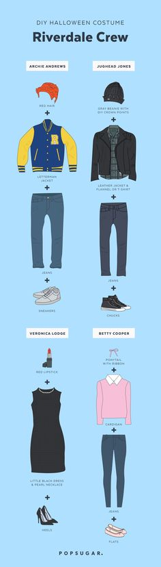 The Easy, DIY Riverdale Costumes You'll Want to Rock With Your BFFs Archie, Jughead, Betty, and Veronica's recognizable outfits can work in all sorts of ways for Halloween. Kj Apa Riverdale, Riverdale Archie, Riverdale Aesthetic, Riverdale Funny, Riverdale Memes, Riverdale Quiz, Costume Halloween, Diy Halloween Costumes For Women, Halloween Diy