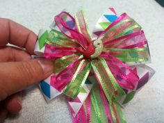 Springtime Colorful Hair Bow Barrette Clip with Flowing Ribbons and Glittery Bird Detail