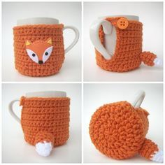 Fox Cup Cozy with MUG Sweater Mug Cozy Cup Cosy - crochet mug cozy Crochet Coffee Cozy, Crochet Cozy, Crochet Motifs, Diy Crochet, Crochet Crafts, Crochet Projects, Crochet Patterns, Cozy Knit, Fox Crafts