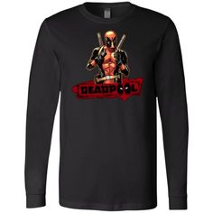 Deadpool Cool Guy Long Sleeve Deadpool, Size Chart, Graphic Sweatshirt, Sport, Cool Stuff, Guys, Clothing Accessories, Sweatshirts, Long Sleeve