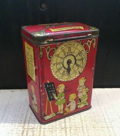 Rare Antique Dunmore Biscuit Tin, Small Red Money Box Bank, Children with Clock – Time is Money, NO KEY Vintage Vintage Storage, Vintage Tins, Vintage Antiques, Antique Boxes, Rare Antique, Tin Can Alley, Tin Lunch Boxes, Coffee Tin, Altered Tins