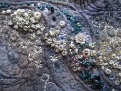 Louise Watson - Textile Artist Barnacles on a Mussel Shell Beaded Embroidery, Embroidery Stitches, Hand Embroidery, Abstract Embroidery, Modern Embroidery, Vintage Embroidery, Embroidery Ideas, Machine Embroidery, Textile Fiber Art