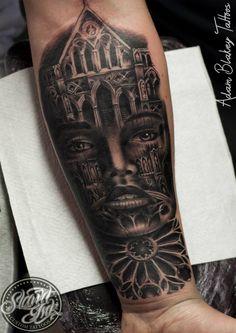 9b3f7e5d0 Church Women Tattoo by Slawit Ink All Tattoos, Tattoo You, Tattoos For  Women,