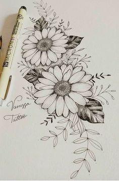Badass Tattoos, Body Art Tattoos, Sleeve Tattoos, Tatoos, Art Drawings Sketches Simple, Tattoo Sketches, Tattoo Drawings, Sunflower Tattoos, Sunflower Tattoo Design