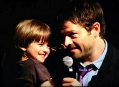 Misha Collins and West Collins attend Salute to Supernatural convention Las Vegas (VegasCon) ❤ 2014