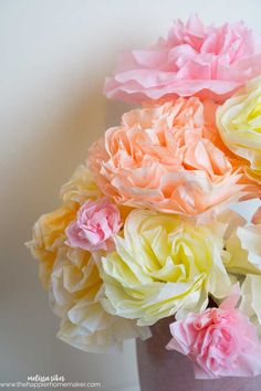 Spring inspired Coffee Filter Flower Bouquet is perfect for brightening up your home-also great for weddings, baby showers, bridal showers and parties!