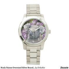 Koala and Orchids Oversized Bracelet Watch. Color: black, gold, silver or two-ton