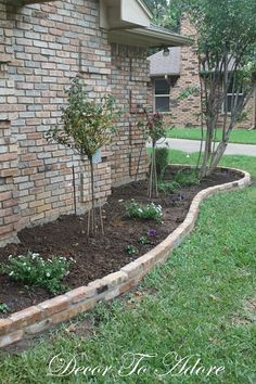 Flower bed wall brick borders for flower beds brick flower bed edging patio garden design flower Brick Landscape Edging, Brick Garden Edging, Front Yard Garden Design, Garden Borders, Flower Bed Borders, Flower Beds, Home Landscaping, Front Yard Landscaping, Brick Flower Bed