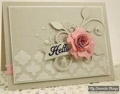Hello by strappystamper - Cards and Paper Crafts at Splitcoaststampers Stencil and molding paste Shabby, 3d Rose, Beautiful Handmade Cards, Unique Cards, Flower Cards, Cool Cards, Creative Cards, Greeting Cards Handmade, Scrapbook Cards