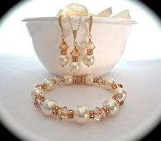 Pearl set  Gold  Necklace bracelet and by QueenMeJewelryLLC, $96.99