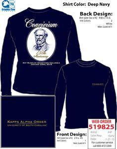 Kappa Alpha Order Convivium Kappa Alpha Order, Rush Shirts, Graphic Cow, University Of South Carolina, Front Design, Ink Color, Colorful Shirts, Fashion, Moda
