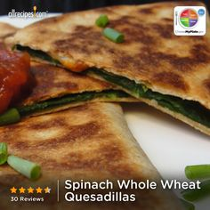 Spinach Whole Wheat Quesadillas from Allrecipes.com #myplate #veggies #cheese #grain
