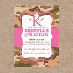 Pink and Camo Birthday Personalized Party by KendyllRaes on Etsy, $10.00